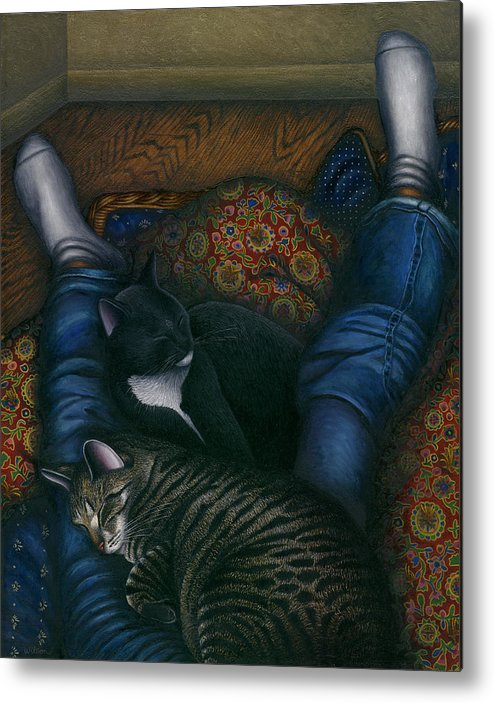 Cats Napping With Girl Metal Print featuring the painting We 3 Nap With My Cats by Carol Wilson