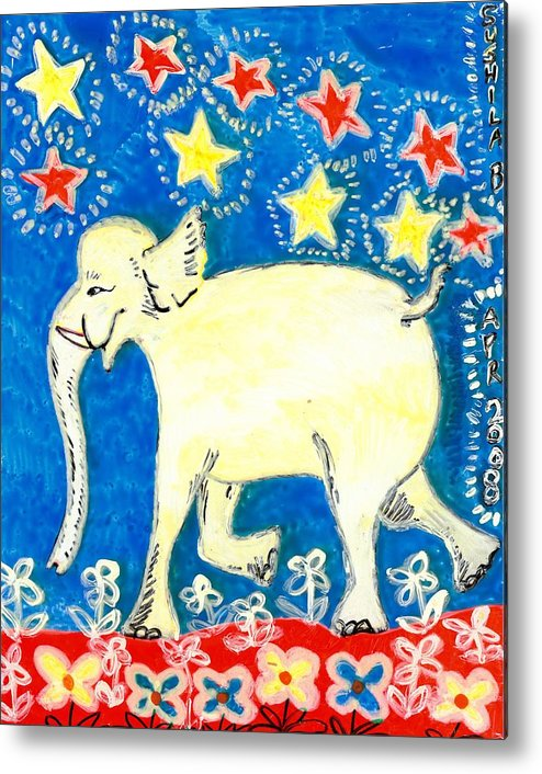 Sue Burgess Metal Print featuring the painting Yellow Elephant Facing Left by Sushila Burgess