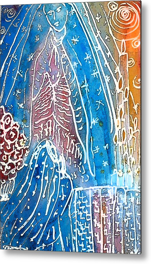Virgin Of Guadalupe Metal Print featuring the painting Encounter by Tolere