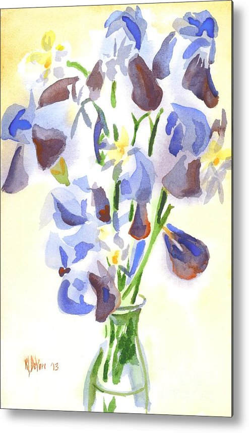 Irises Aglow Metal Print featuring the painting Irises Aglow by Kip DeVore