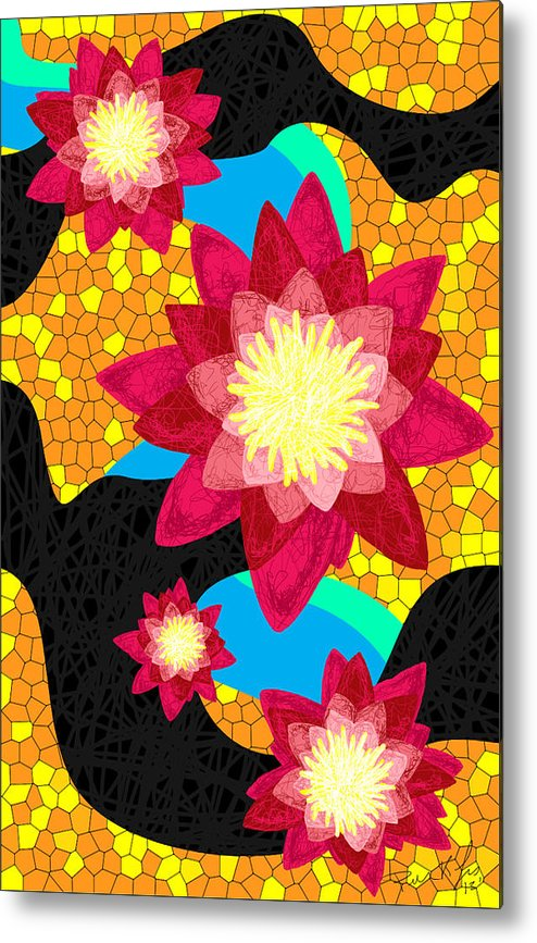 Lotus Flower Bombs Metal Print featuring the drawing Lotus Flower Bombs In Magenta by Pierre Louis