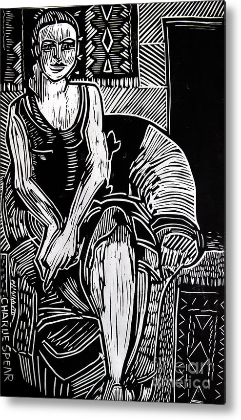 Lino-cut Metal Print featuring the relief Reclining by Charlie Spear