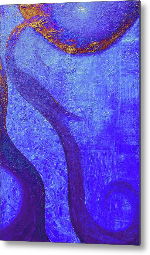 Blue Metal Print featuring the painting Blue Seed by Ishwar Malleret