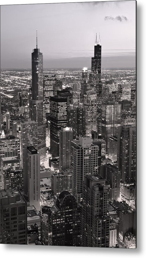 Aerial Metal Print featuring the photograph Chicago Loop Sundown B And W by Steve Gadomski
