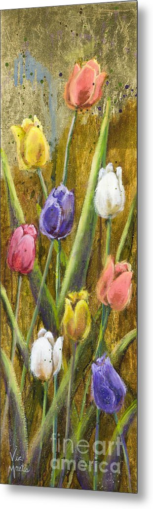 Splash Metal Print featuring the painting Splashy Tulips II With Gold Leaf By Vic Mastis by Vic Mastis