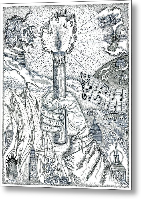 Christian Metal Print featuring the drawing One Candle by Glenn McCarthy Art and Photography