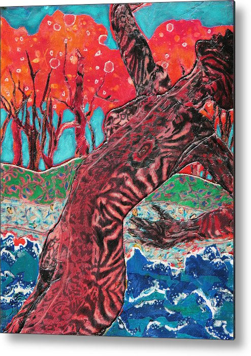 Mixed Media Nude Metal Print featuring the mixed media Tiger Lady by Diane Fine