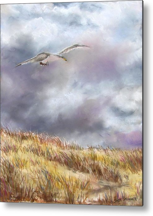 Seagull Metal Print featuring the painting Seagull Flying Over Dunes by Jack Skinner