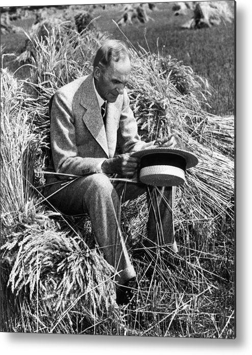 Contemplative Metal Print featuring the photograph Henry Ford, 1863-1947 by Everett