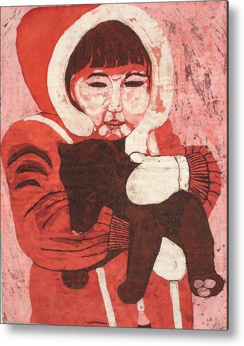 Fabric Metal Print featuring the painting Batik -girl W Bear- by Lisa Kramer