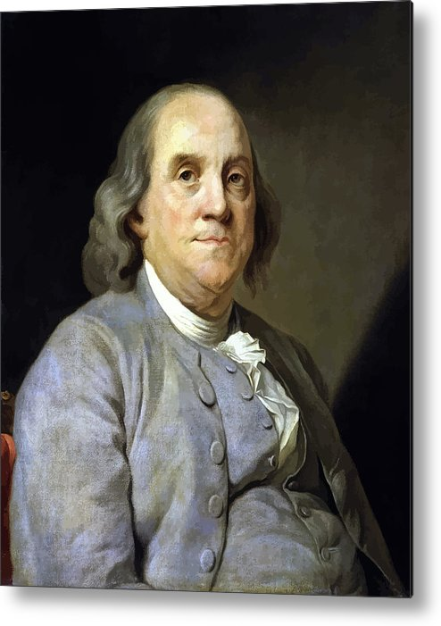 Benjamin Franklin Metal Print featuring the painting Benjamin Franklin by War Is Hell Store