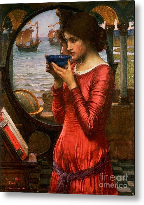 Boat; Globe; Poison; Blue Glass; Pre-raphaelite; Allegorical; Red Dress Metal Print featuring the painting Destiny by John William Waterhouse