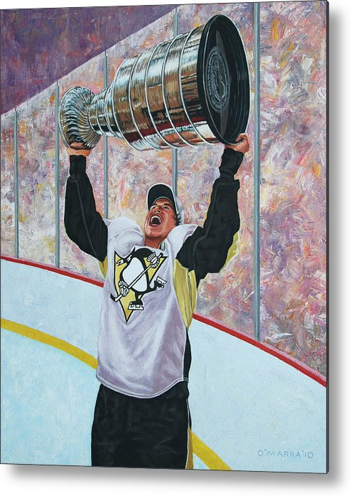 Sidney Crosby Metal Print featuring the painting The Kid And The Cup by Allan OMarra