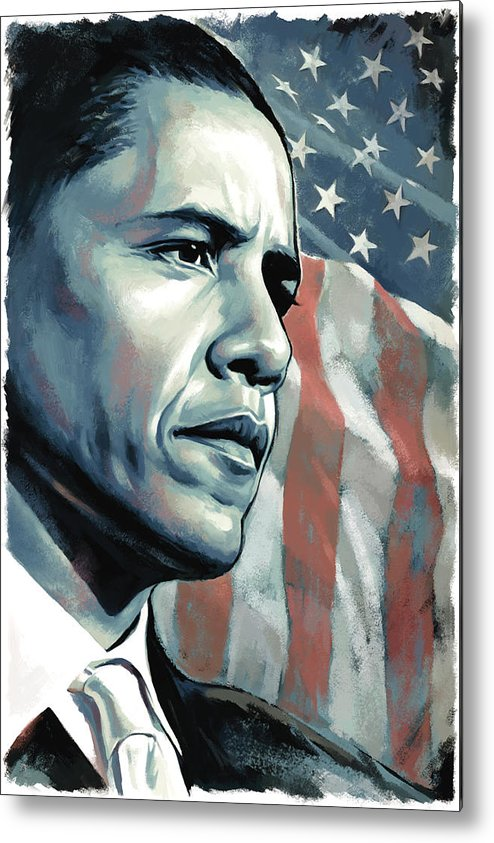Barack Obama Paintings Metal Print featuring the painting Barack Obama Artwork 2 by Sheraz A