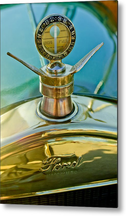 1923 Ford Model T Metal Print featuring the photograph 1923 Ford Model T Hood Ornament by Jill Reger