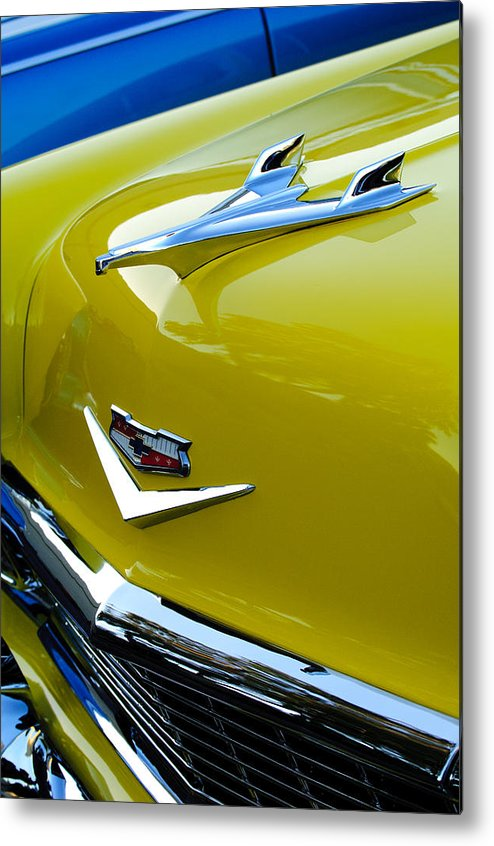 1956 Chevrolet Metal Print featuring the photograph 1956 Chevrolet Hood Ornament 3 by Jill Reger