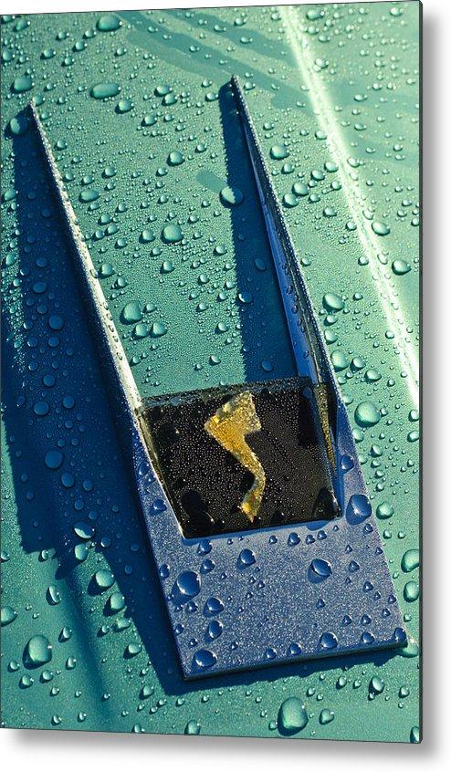 1963 Studebaker Avanti Metal Print featuring the photograph 1963 Studebaker Avanti Hood Ornament by Jill Reger