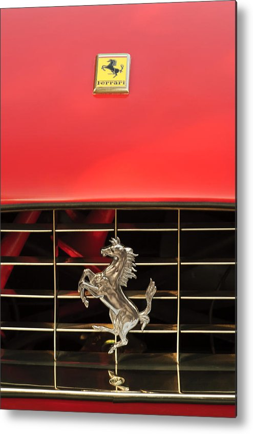 1966 Ferrari 330 Gtc Coupe Metal Print featuring the photograph 1966 Ferrari 330 Gtc Coupe Hood Ornament by Jill Reger