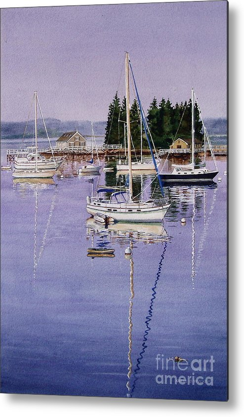 Water Metal Print featuring the painting Boothbay Harbor by Karol Wyckoff