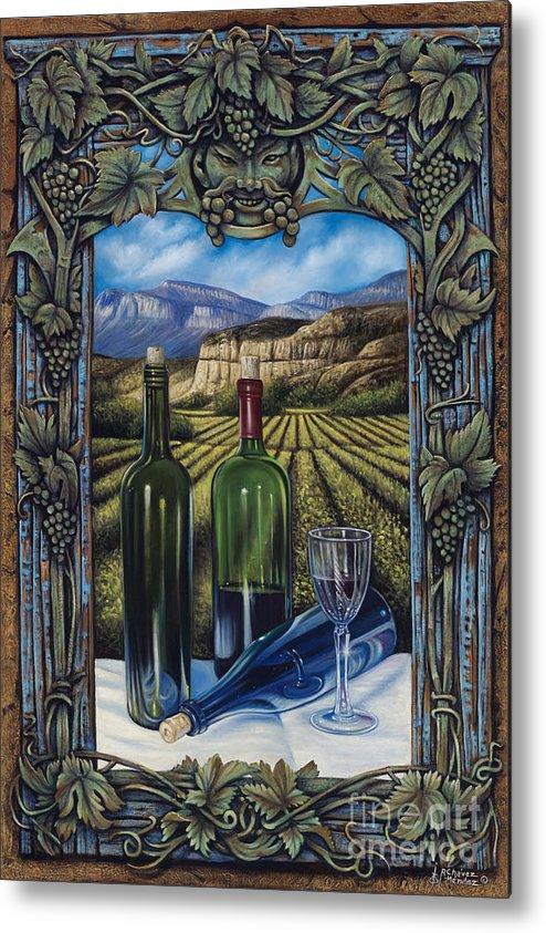 Wine Metal Print featuring the painting Bacchus Vineyard by Ricardo Chavez-Mendez