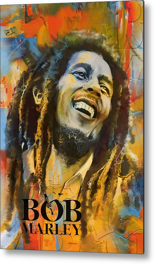 Bob Marley Metal Print featuring the painting Bob Marley by Corporate Art Task Force