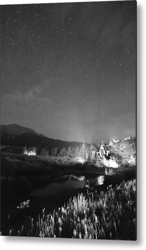 Old Churches Metal Print featuring the photograph Chapel On The Rock Stary Night Portrait Bw by James BO Insogna