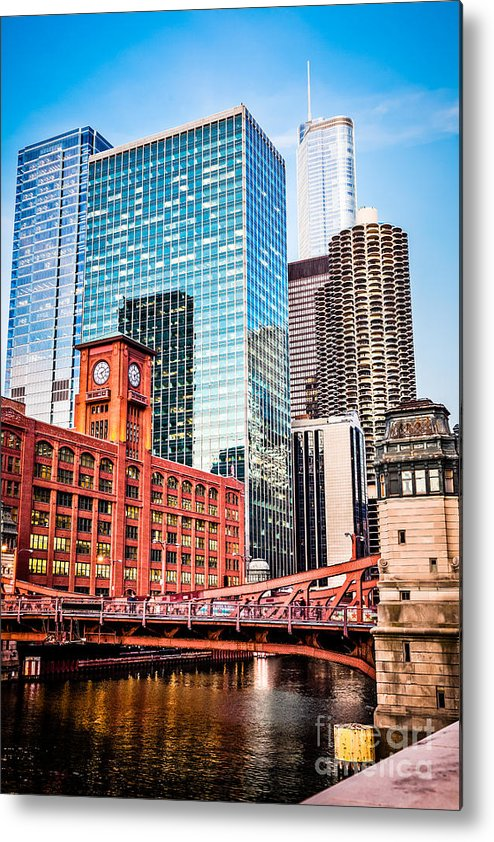 America Metal Print featuring the photograph Chicago Downtown At Lasalle Street Bridge by Paul Velgos