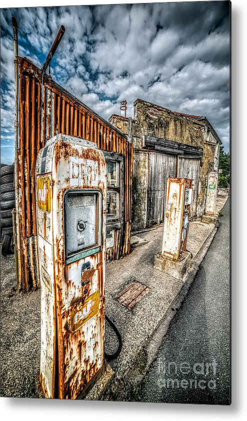 Derelict Metal Print featuring the photograph Derelict Gas Station by Adrian Evans