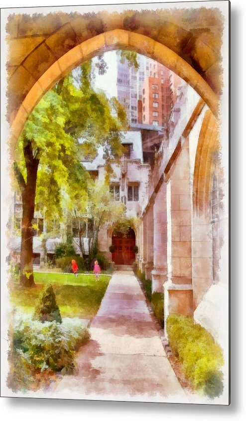 Churchyard Metal Print featuring the painting Fourth Presbyterian - A Chicago Sanctuary by Christine Till