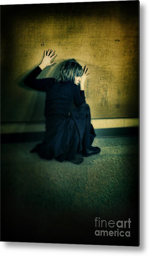 Woman Metal Print featuring the photograph Frightened Woman by Jill Battaglia