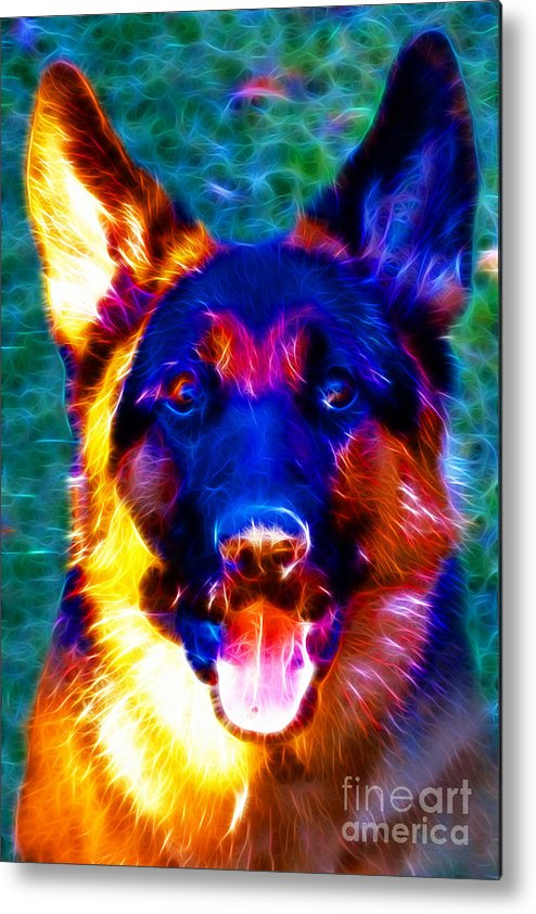 Animal Metal Print featuring the photograph German Shepard - Electric by Wingsdomain Art and Photography