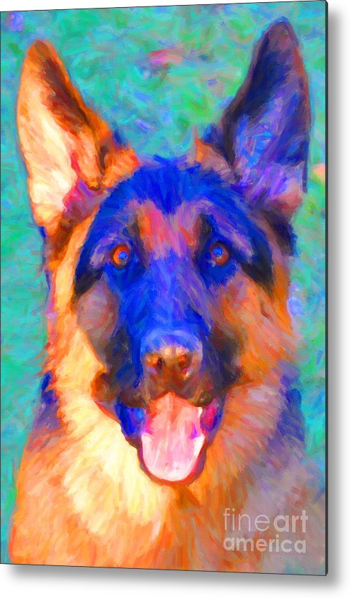 Animal Metal Print featuring the photograph German Shepard - Painterly by Wingsdomain Art and Photography