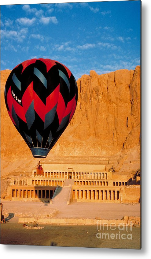Travel Metal Print featuring the photograph Hot Air Balloon Over Thebes Temple by John G Ross