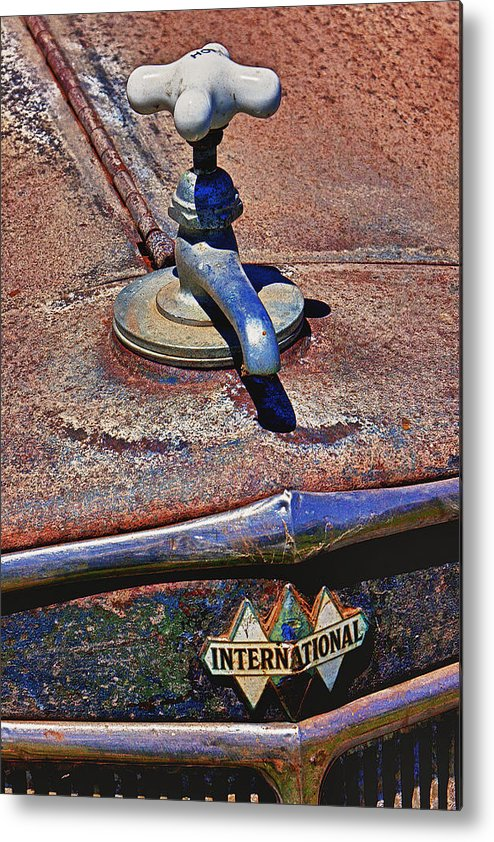 Hot Faucet Metal Print featuring the photograph Hot Faucet Hood Ornament by Garry Gay