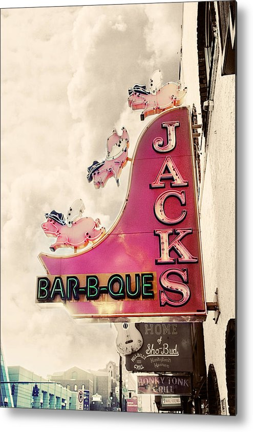 Sign Metal Print featuring the photograph Jacks Bbq by Amy Tyler