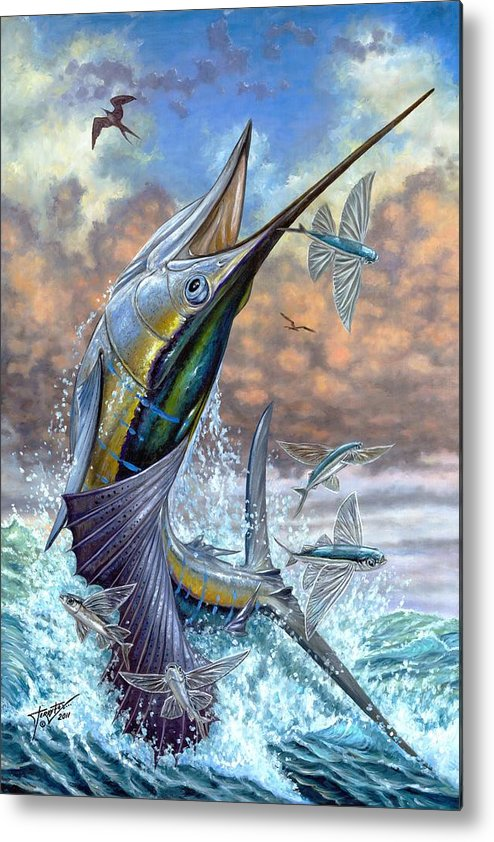 Flying Fishes Metal Print featuring the painting Jumping Sailfish And Flying Fishes by Terry Fox
