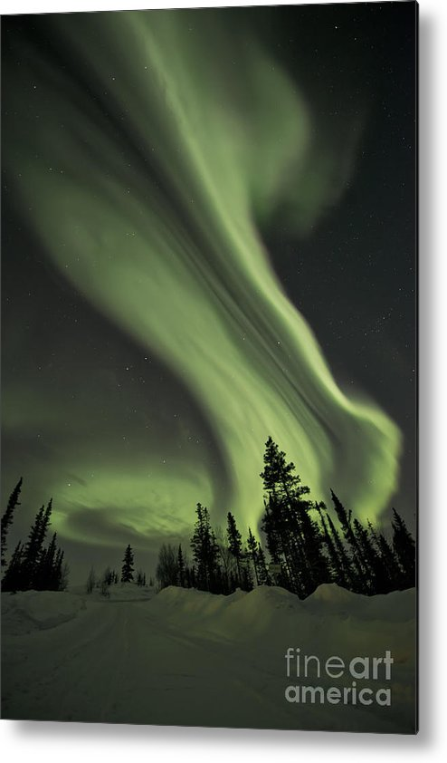 Aurora Borealis Metal Print featuring the photograph Light Swirls Over The Midnight Dome by Priska Wettstein