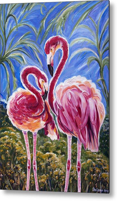 Flamingo Metal Print featuring the painting Love Flamingos by Yelena Rubin