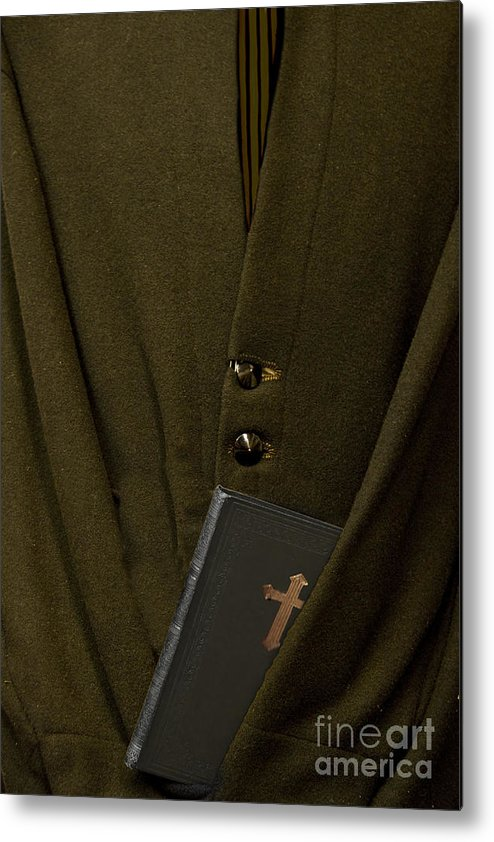 Mens; Old; Grunge; Bible; Binding; Side View; Cross; Metallic; Symbol; Religion; Book; Words; Symbolism; Close Up; Still Life; Object; Read; Prayer; Religious; Priest; Man; Dark; Darkness; Faith; God; Jesus; Clergy; Buttons; Jacket; Christian; Catholic; Metal Print featuring the photograph Priest by Margie Hurwich