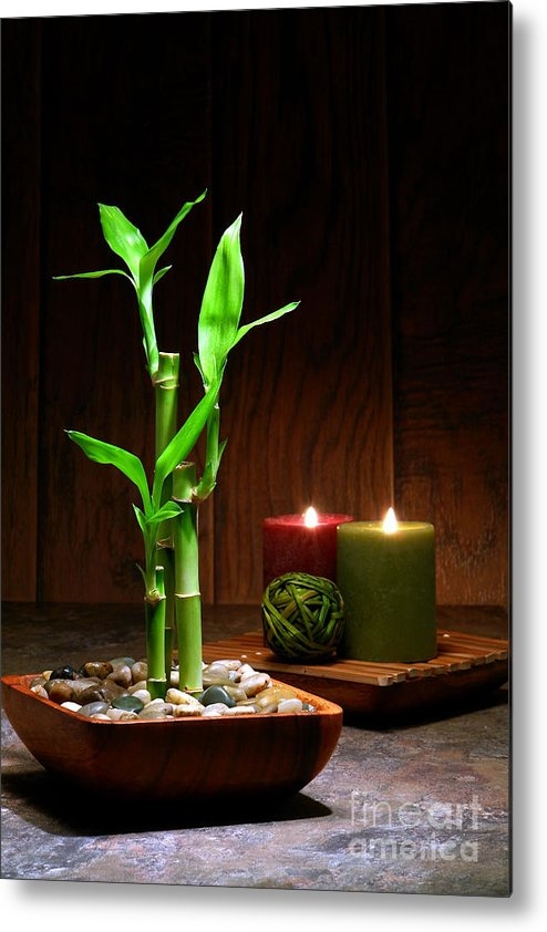 Bamboo Metal Print featuring the photograph Relaxation And Meditation by Olivier Le Queinec