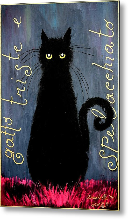 Cat Metal Print featuring the painting Sad And Ruffled Cat by Donatella Muggianu