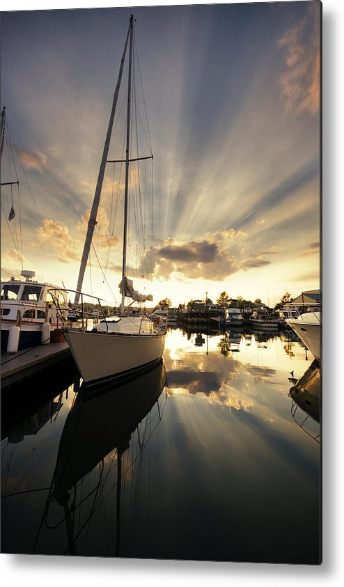 Sailboat Metal Print featuring the photograph Sailed In by Alexey Stiop