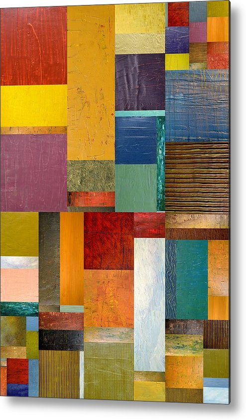 Textural Metal Print featuring the painting Strips And Pieces Ll by Michelle Calkins