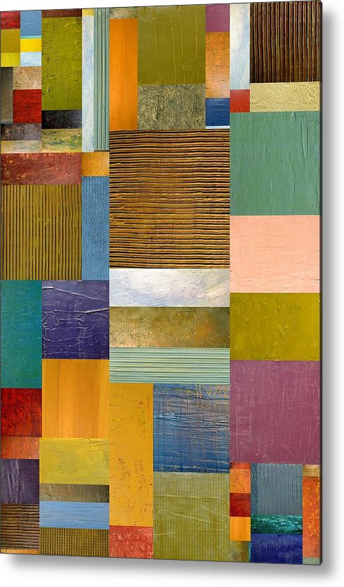 Textural Metal Print featuring the painting Strips And Pieces Lv by Michelle Calkins