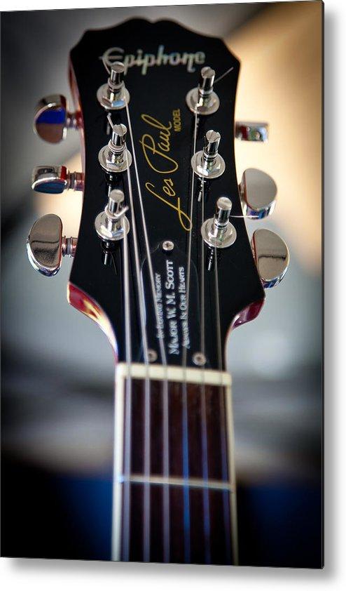 The Epiphone Les Paul Guitars Metal Print featuring the photograph The Epiphone Les Paul Guitar by David Patterson