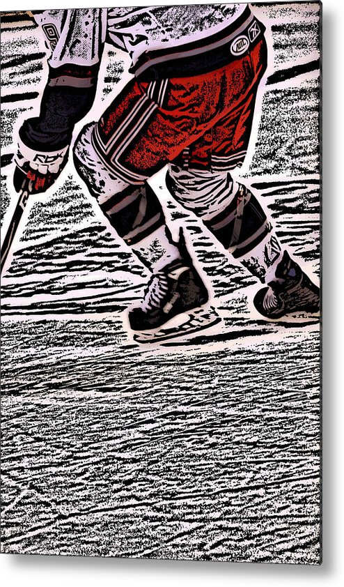 Hockey Metal Print featuring the photograph The Hockey Player by Karol Livote