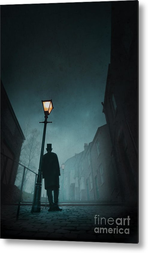 Victorian Metal Print featuring the photograph Victorian Man With Top Hat Leaning On A Street Light by Lee Avison