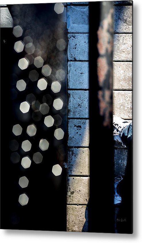 Abstract Metal Print featuring the photograph White Sneakers On The Edge by Bob Orsillo