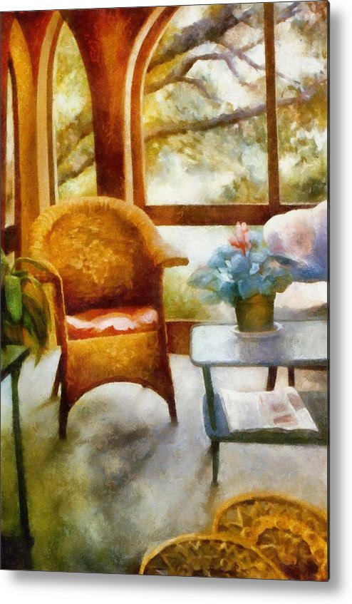Interior Metal Print featuring the painting Wicker Chair And Cyclamen by Michelle Calkins