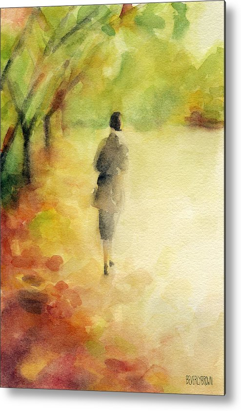 Autumn Metal Print featuring the painting Woman Walking Autumn Landscape Watercolor Painting by Beverly Brown Prints